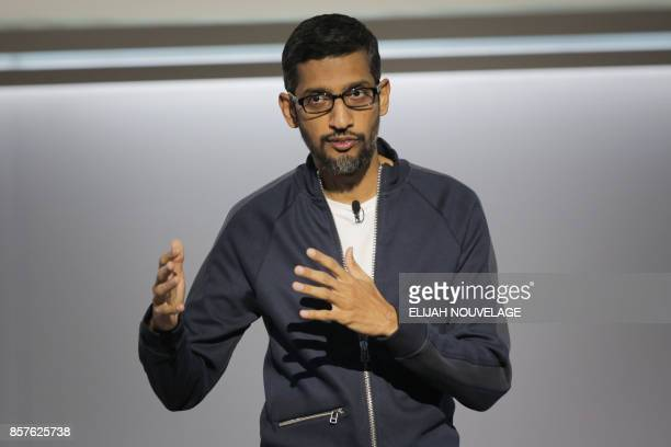 Sundar Pichai chief executive officer of Google Inc speaks about Google's improvements in Artificial Intelligence and machine learning at a product...