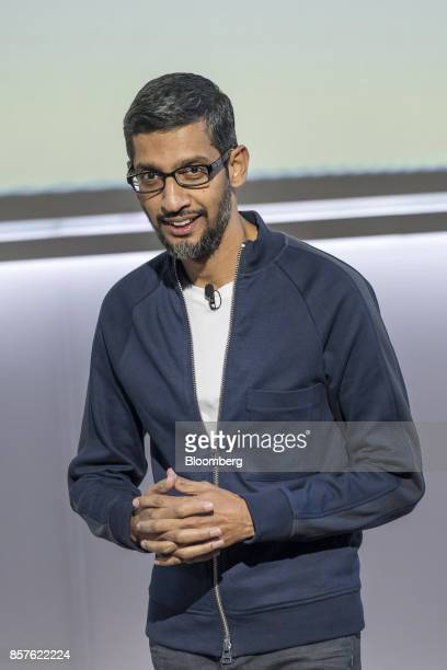 Sundar Pichai chief executive officer of Google Inc speaks during a product launch event in San Francisco California US on Wednesday Oct 4 2017...