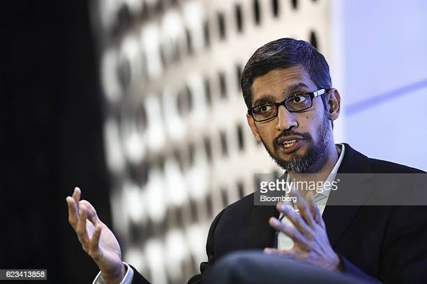 Sundar Pichai chief executive officer of Google Inc speaks during an event at Google's Kings Cross office in London UK on Tuesday Nov 15 2016 After...