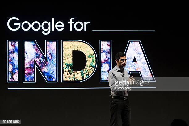 Sundar Pichai chief executive officer of Google Inc speaks during the 'Google for India' event in New Delhi India on Wednesday Dec 16 2015 Google and...