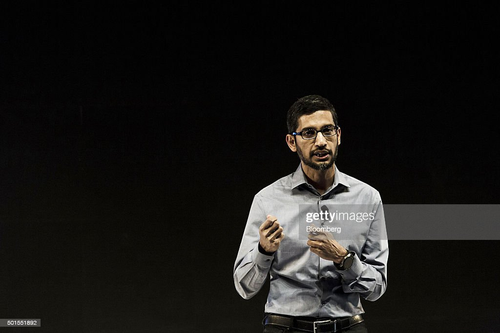 <a gi-track='captionPersonalityLinkClicked' href=/galleries/search?phrase=Sundar+Pichai&family=editorial&specificpeople=7768399 ng-click='$event.stopPropagation()'>Sundar Pichai</a>, chief executive officer of Google Inc., speaks during the 'Google for India' event in New Delhi, India, on Wednesday, Dec. 16, 2015. Google and the Indian government are working to bring high-speed wireless Internet access to 400 of the country's railway stations. Photographer: Udit Kulshrestha/Bloomberg via Getty Images