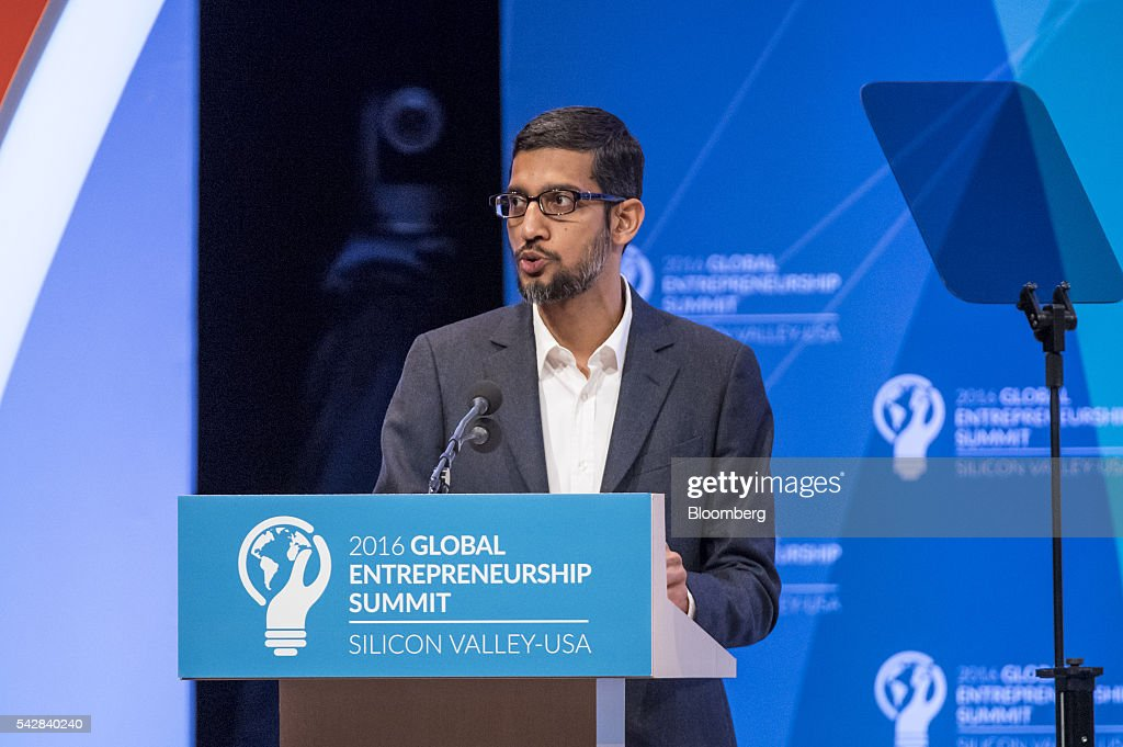<a gi-track='captionPersonalityLinkClicked' href=/galleries/search?phrase=Sundar+Pichai&family=editorial&specificpeople=7768399 ng-click='$event.stopPropagation()'>Sundar Pichai</a>, chief executive officer of Google Inc., speaks during the 2016 Global Entrepreneurship Summit (GES) at Stanford University in Stanford, California, U.S., on Friday, June 24, 2016. The annual event brings together entrepreneurs from around the world for 3 days of networking, workshops and conferences. Photographer: David Paul Morris/Bloomberg via Getty Images