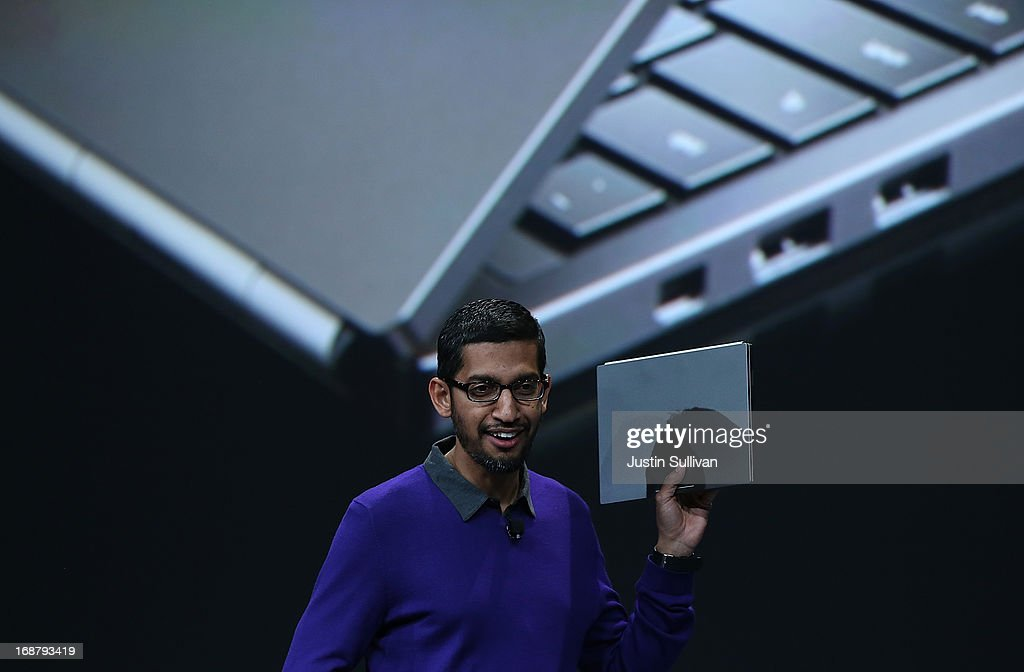 Sundar Pichai, Google senior vice president of Android, Chrome and Apps, holds a Google Chromebook Pixel as he speaks during the opening keynote at the Google I/O developers conference at the Moscone Center on May 15, 2013 in San Francisco, California. Thousands are expected to attend the 2013 Google I/O developers conference that runs through May 17.