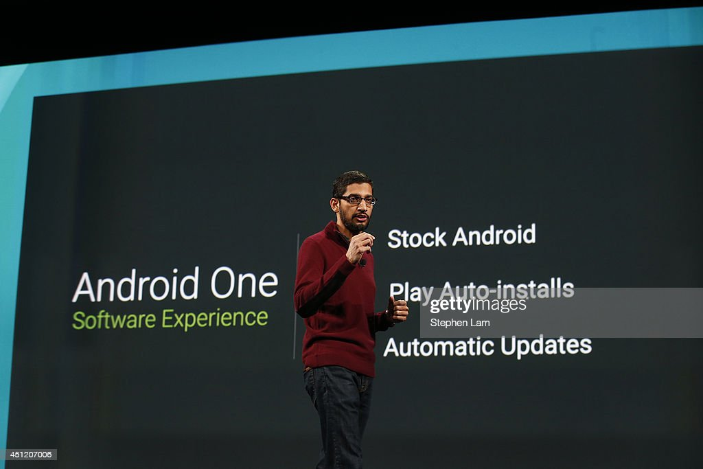 Sundar Pichai, Senior Vice President, Android, Chrome & Apps speaks on stage during the Google I/O Developers Conference at Moscone Center on June 25, 2014 in San Francisco, California. The seventh annual Google I/O Developers conference is expected to draw thousands through June 26.