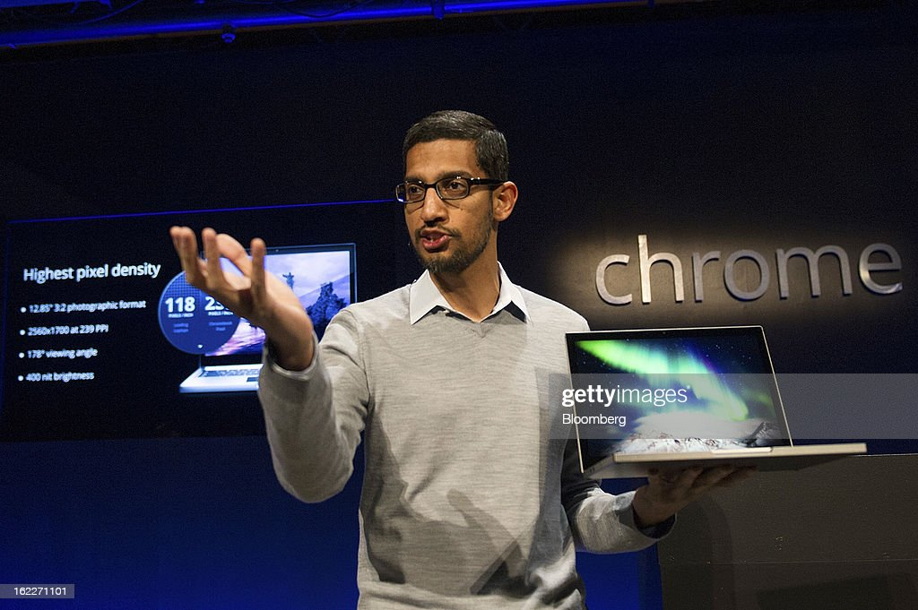 Sundar Pichai, senior vice president for Chrome at Google Inc., holds up a new Chromebook Pixel as he speaks during a launch event in San Francisco, California, U.S., on Thursday, Feb. 21, 2013. Google Inc., owner of the world's most popular search engine, debuted a touchscreen version of the Chromebook laptop, stepping up its challenge to Microsoft Corp. and Apple Inc. in hardware. Photographer: David Paul Morris/Bloomberg via Getty Images