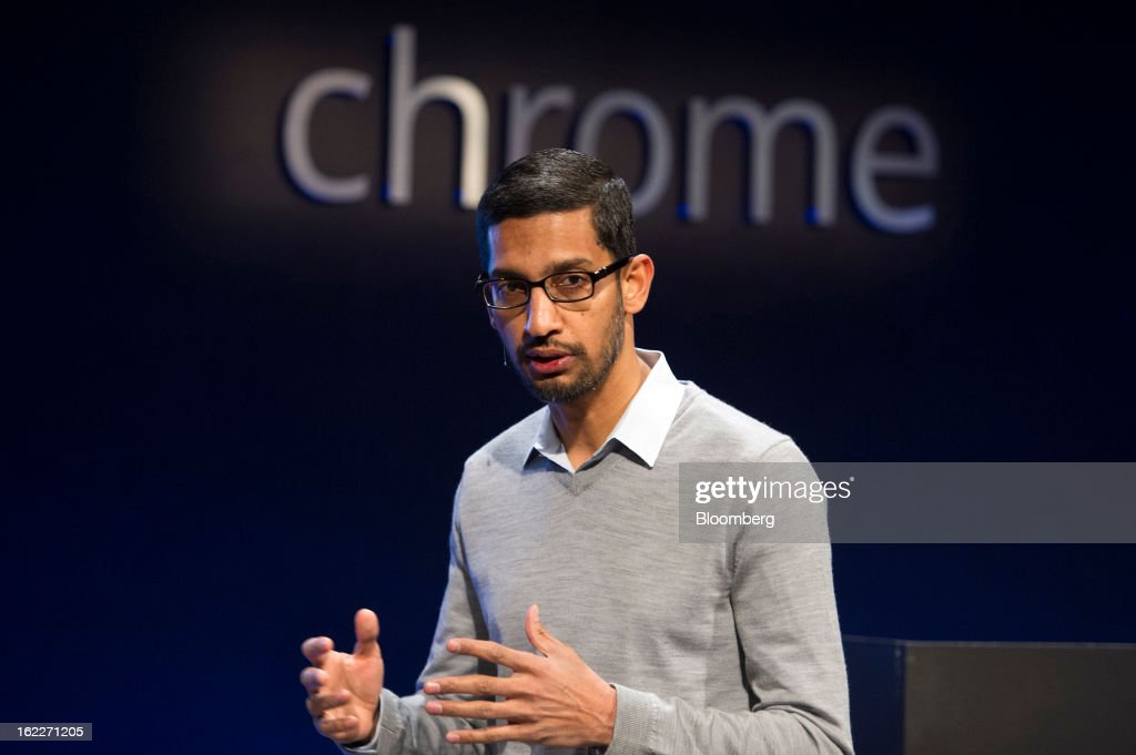 Sundar Pichai, senior vice president for Chrome at Google Inc., speaks during a launch event for the new Chromebook Pixel laptop in San Francisco, California, U.S., on Thursday, Feb. 21, 2013. Google Inc., owner of the world's most popular search engine, debuted a touchscreen version of the Chromebook laptop, stepping up its challenge to Microsoft Corp. and Apple Inc. in hardware. Photographer: David Paul Morris/Bloomberg via Getty Images