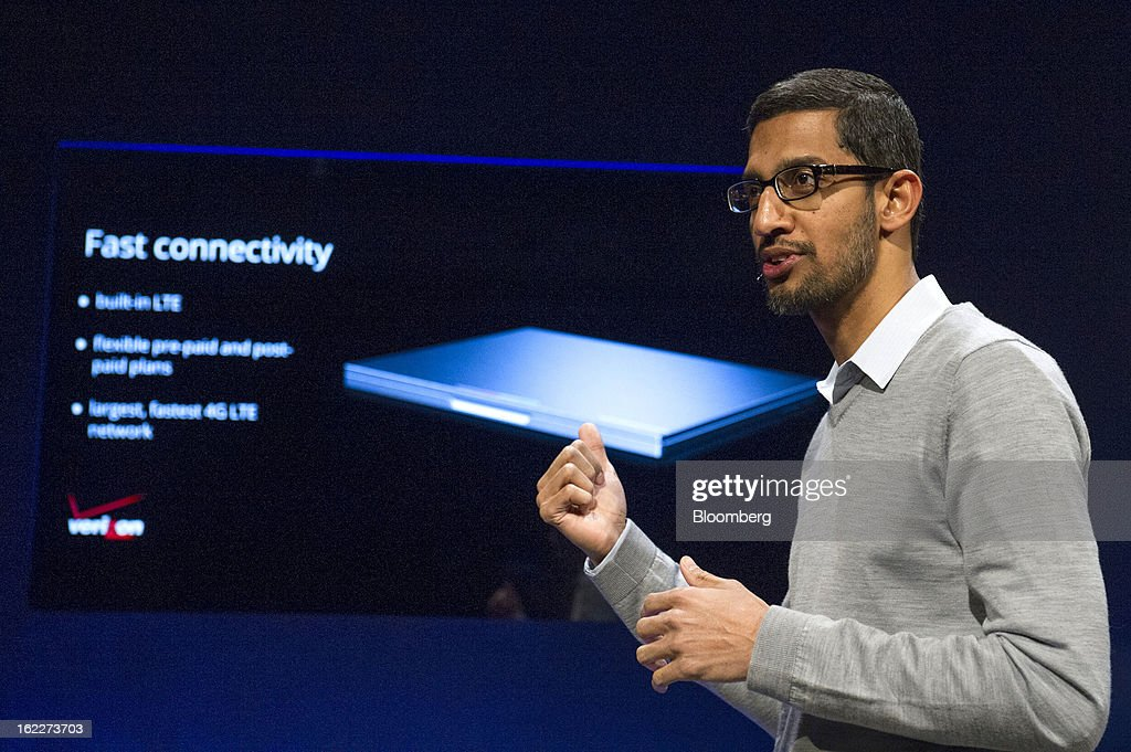 <a gi-track='captionPersonalityLinkClicked' href=/galleries/search?phrase=Sundar+Pichai&family=editorial&specificpeople=7768399 ng-click='$event.stopPropagation()'>Sundar Pichai</a>, senior vice president for Chrome at Google Inc., speaks during a launch event for the new Chromebook Pixel laptop in San Francisco, California, U.S., on Thursday, Feb. 21, 2013. Google Inc., owner of the world's most popular search engine, debuted a touchscreen version of the Chromebook laptop, stepping up its challenge to Microsoft Corp. and Apple Inc. in hardware. Photographer: David Paul Morris/Bloomberg via Getty Images