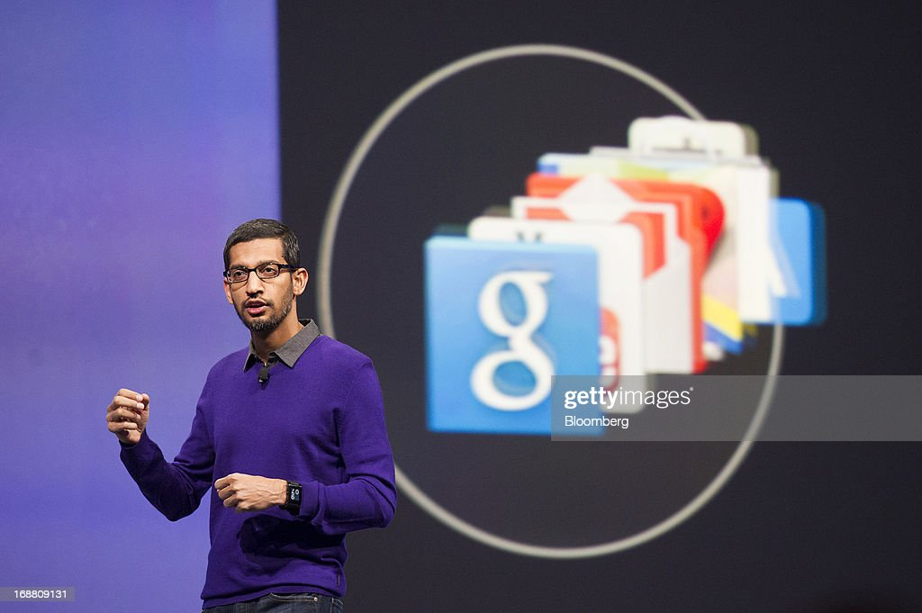<a gi-track='captionPersonalityLinkClicked' href=/galleries/search?phrase=Sundar+Pichai&family=editorial&specificpeople=7768399 ng-click='$event.stopPropagation()'>Sundar Pichai</a>, senior vice president of Android, Chrome and Apps at Google Inc., speaks during the Google I/O Annual Developers Conference in San Francisco, California, U.S., on Wednesday, May 15, 2013. Google Inc. introduced a subscription music-streaming service, one of several product updates to be unveiled at a developer meeting this week as the search provider seeks to attract more users and advertisers. Photographer: David Paul Morris/Bloomberg via Getty Images