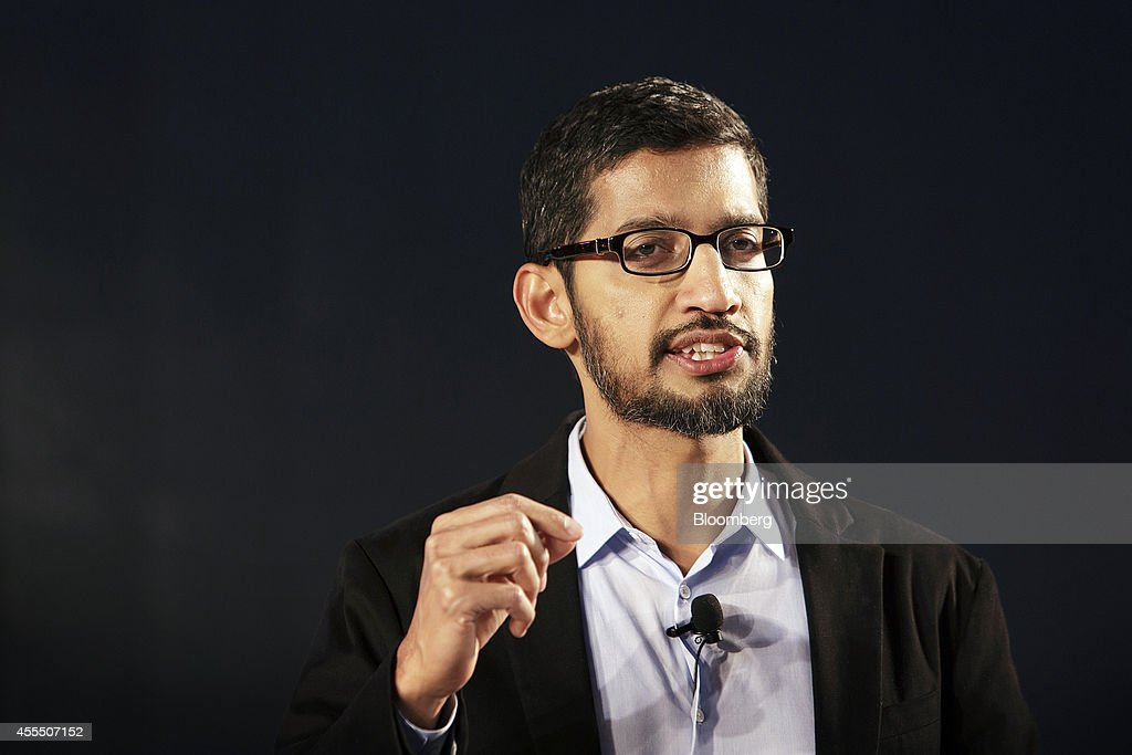 <a gi-track='captionPersonalityLinkClicked' href=/galleries/search?phrase=Sundar+Pichai&family=editorial&specificpeople=7768399 ng-click='$event.stopPropagation()'>Sundar Pichai</a>, senior vice president of Android, Chrome and Apps at Google Inc., speaks during the company's Android One smartphone launch event in New Delhi, India, on Monday, Sept. 15, 2014. Google will offer customers in India the Android One, a low-cost phone capable of Internet access, to win users in the fastest growing smartphone market. Photographer: Kuni Takahashi/Bloomberg via Getty Images