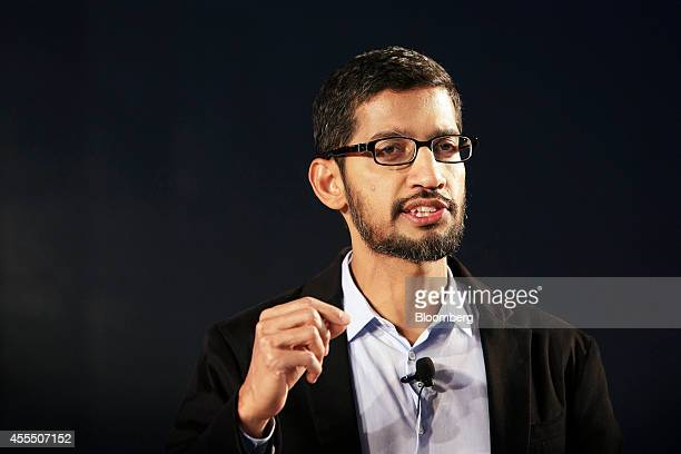 Sundar Pichai senior vice president of Android Chrome and Apps at Google Inc speaks during the company's Android One smartphone launch event in New...