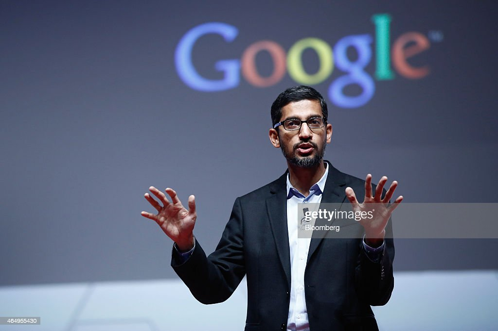 <a gi-track='captionPersonalityLinkClicked' href=/galleries/search?phrase=Sundar+Pichai&family=editorial&specificpeople=7768399 ng-click='$event.stopPropagation()'>Sundar Pichai</a>, senior vice president of Android, Chrome and Apps at Google Inc., speaks during a keynote session at the Mobile World Congress in Barcelona, Spain, on Monday, March 2, 2015. The event, which generates several hundred million euros in revenue for the city of Barcelona each year, also means the world for a week turns its attention back to Europe for the latest in technology, despite a lagging ecosystem. Photographer: Simon Dawson/Bloomberg via Getty Images
