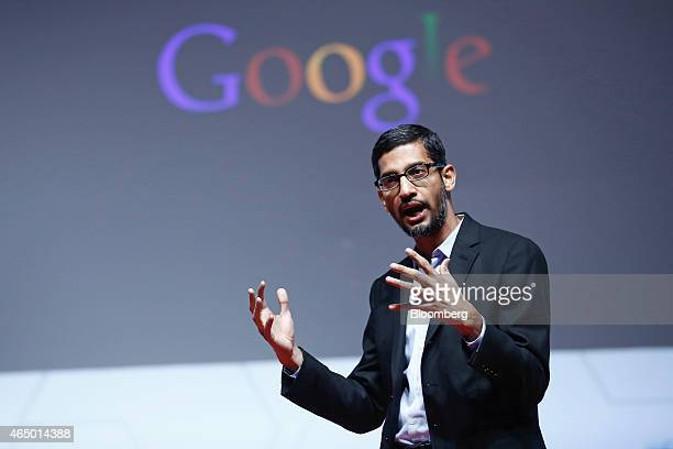 Sundar Pichai senior vice president of Android Chrome and Apps at Google Inc speaks during a keynote session at the Mobile World Congress in...