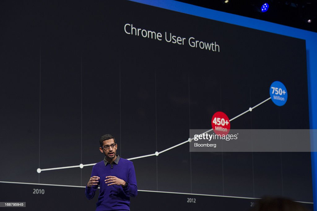 Sundar Pichai, senior vice president of Android, Chrome and Apps for Google Inc., speaks during the Google I/O Annual Developers Conference in San Francisco, California, U.S., on Wednesday, May 15, 2013. Google Inc. introduced a subscription music-streaming service, one of several product updates to be unveiled at a developer meeting this week as the search provider seeks to attract more users and advertisers. Photographer: David Paul Morris/Bloomberg via Getty Images