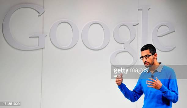 Sundar Pichai Senior Vice President of Android Chrome and Apps for Google speaks at a media event at Dogpatch Studios on July 24 2013 in San...