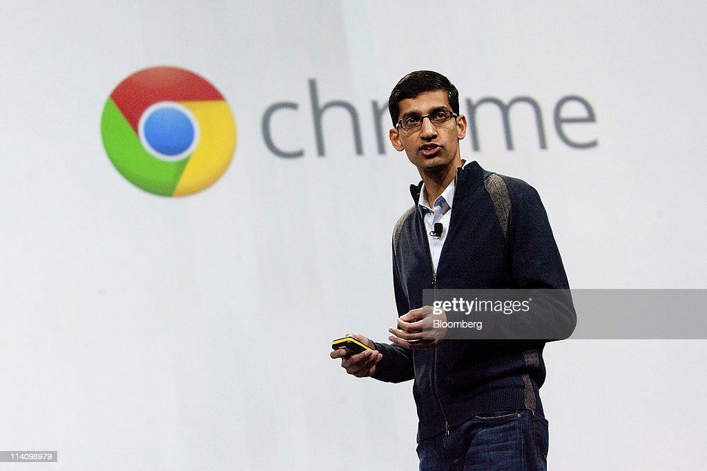 <a gi-track='captionPersonalityLinkClicked' href=/galleries/search?phrase=Sundar+Pichai&family=editorial&specificpeople=7768399 ng-click='$event.stopPropagation()'>Sundar Pichai</a>, senior vice president of Chrome at Google Inc., speaks during a keynote address at the Google I/O conference in San Francisco, California, U.S., on Wednesday, May 11, 2011. Google Inc.'s new Chromebook line of laptops, manufactured by Samsung Electronics Co. and Acer Inc., will go on sale next month, furthering the company's push into computer hardware. Photographer: David Paul Morris/Bloomberg via Getty Images