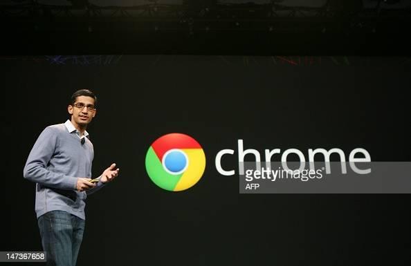 Sundar Pichai senior vice president of Chrome speaks at Google's annual developer conference Google I/O in San Francisco on June 28 2012 AFP...