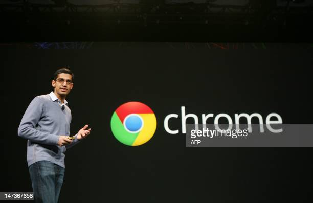 Sundar Pichai senior vice president of Chrome speaks at Google's annual developer conference Google I/O in San Francisco on June 28 2012 AFP...