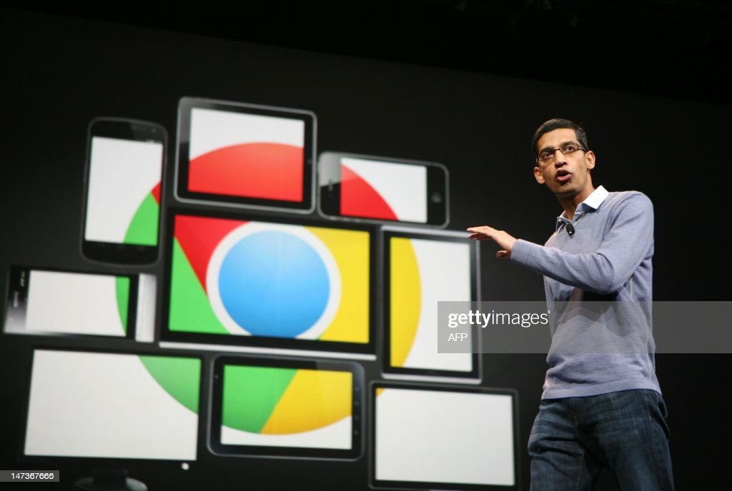 Sundar Pichai, senior vice president of Chrome, speaks at Google's annual developer conference, Google I/O, in San Francisco on June 28, 2012. AFP PHOTO/Kimihiro Hoshino