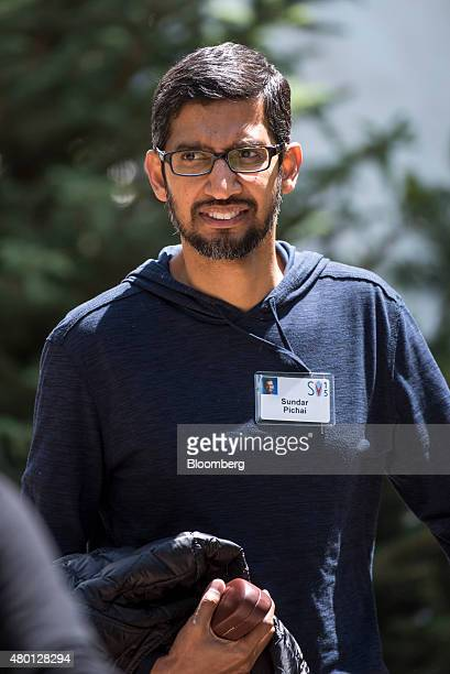 Sundar Pichai senior vice president of products at Google Inc walks the grounds during a break at the Allen Co Media and Technology Conference in Sun...