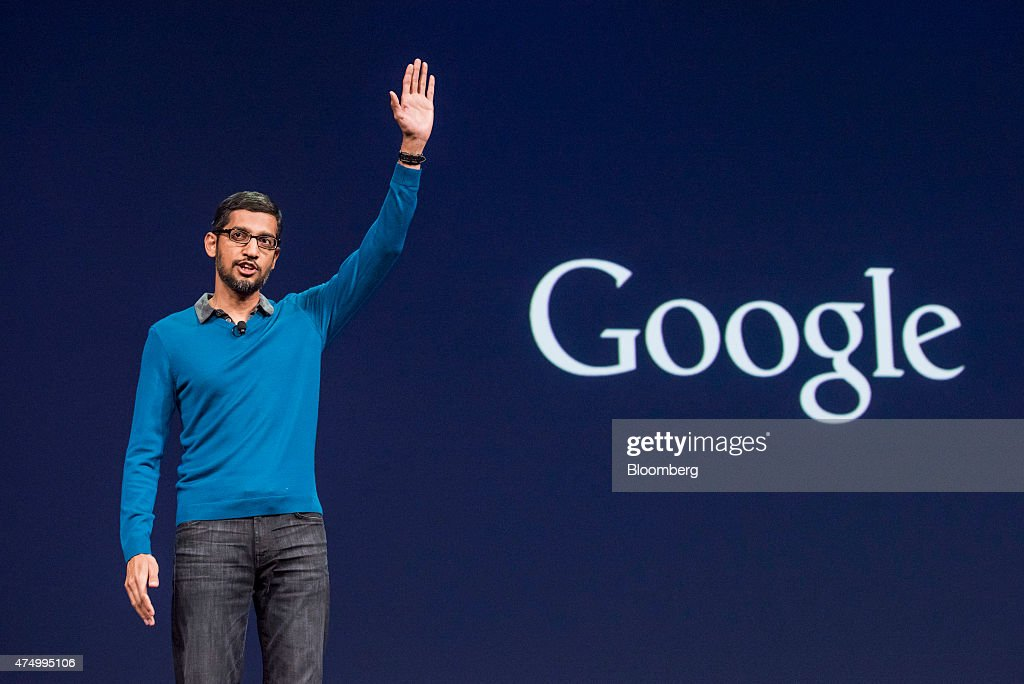 <a gi-track='captionPersonalityLinkClicked' href=/galleries/search?phrase=Sundar+Pichai&family=editorial&specificpeople=7768399 ng-click='$event.stopPropagation()'>Sundar Pichai</a>, senior vice president of products for Google Inc., speaks during the Google I/O Annual Developers Conference in San Francisco, California, U.S., on Thursday, May 28, 2015. Google Inc. unveiled payment services, security upgrades and access to HBO movies and shows for its popular Android software, seeking to push back against growing competition from rivals such as Apple Inc. Photographer: David Paul Morris/Bloomberg via Getty Images