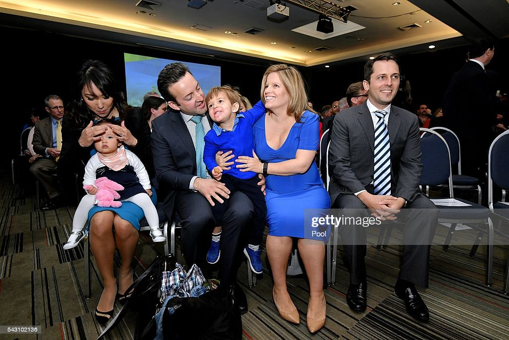Sunday 26 June, 2016 Election, Prime Minister Malcolm Turnbull officially launches the Liberal 2016 Federal Campaign with wife Lucy and Liberal party members Julie Bishop, Treasurer Scott Morrison, Barnaby Joyce as well as ex PMs Tony Abbott and John Howard at Homebush Novotel. Malcolm Turnbull Son Alex wife Yvonne, Isla,1 , Malcolm Turnbulls Daughter Daisy (blue dress) and husband James and Grandson Jack, 2