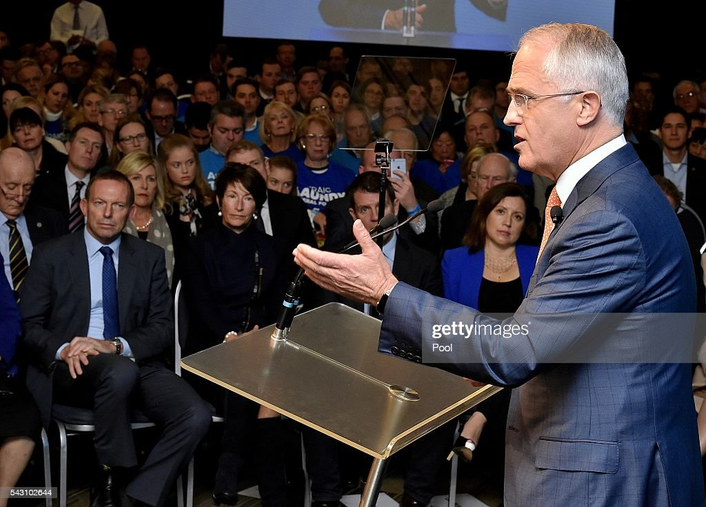 Sunday 26 June, 2016 Election, Prime Minister <a gi-track='captionPersonalityLinkClicked' href=/galleries/search?phrase=Malcolm+Turnbull&family=editorial&specificpeople=2125595 ng-click='$event.stopPropagation()'>Malcolm Turnbull</a> officially launches the Liberal 2016 Federal Campaign with wife Lucy and Liberal party members <a gi-track='captionPersonalityLinkClicked' href=/galleries/search?phrase=Julie+Bishop&family=editorial&specificpeople=1198450 ng-click='$event.stopPropagation()'>Julie Bishop</a>, Treasurer <a gi-track='captionPersonalityLinkClicked' href=/galleries/search?phrase=Scott+Morrison+-+Politician&family=editorial&specificpeople=15789813 ng-click='$event.stopPropagation()'>Scott Morrison</a>, <a gi-track='captionPersonalityLinkClicked' href=/galleries/search?phrase=Barnaby+Joyce&family=editorial&specificpeople=8699610 ng-click='$event.stopPropagation()'>Barnaby Joyce</a> as well as ex PMs <a gi-track='captionPersonalityLinkClicked' href=/galleries/search?phrase=Tony+Abbott&family=editorial&specificpeople=220956 ng-click='$event.stopPropagation()'>Tony Abbott</a> and <a gi-track='captionPersonalityLinkClicked' href=/galleries/search?phrase=John+Howard+-+Politician&family=editorial&specificpeople=12204326 ng-click='$event.stopPropagation()'>John Howard</a> at Homebush Novotel. Picture: Jason Edwards