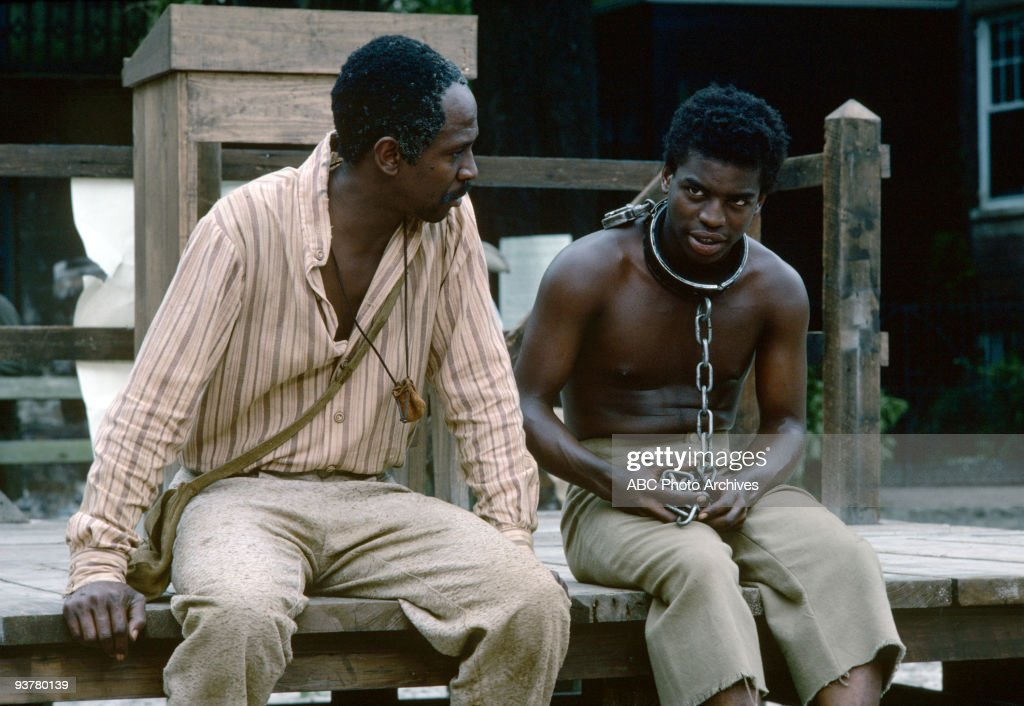 ROOTS - Sunday, Jan. 23-Sunday. Jan. 30, 1977, The 12-hour ABC Novel for Television 'Roots', which aired for eight consecutive nights, remains one of TV's landmark programs. Based on Alex Haley's best-selling novel, 'Roots' followed 100 tumultuous years and several generations of the author's African ancestors, from the arrival of Kunta Kinte (<a gi-track='captionPersonalityLinkClicked' href=/galleries/search?phrase=LeVar+Burton&family=editorial&specificpeople=241259 ng-click='$event.stopPropagation()'>LeVar Burton</a>, right), the West African youth kidnapped into slavery and shipped to America, through emancipation after the Civil War., Pictured: Kunta Kinte met Fiddler (Louis Gossett Jr.), an American-born slave when Kunta was sold to his first owner (Jan. 24).,