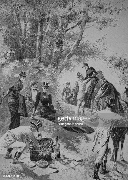 Sunday outing on horseback polite society picnic Woodcut from 1892