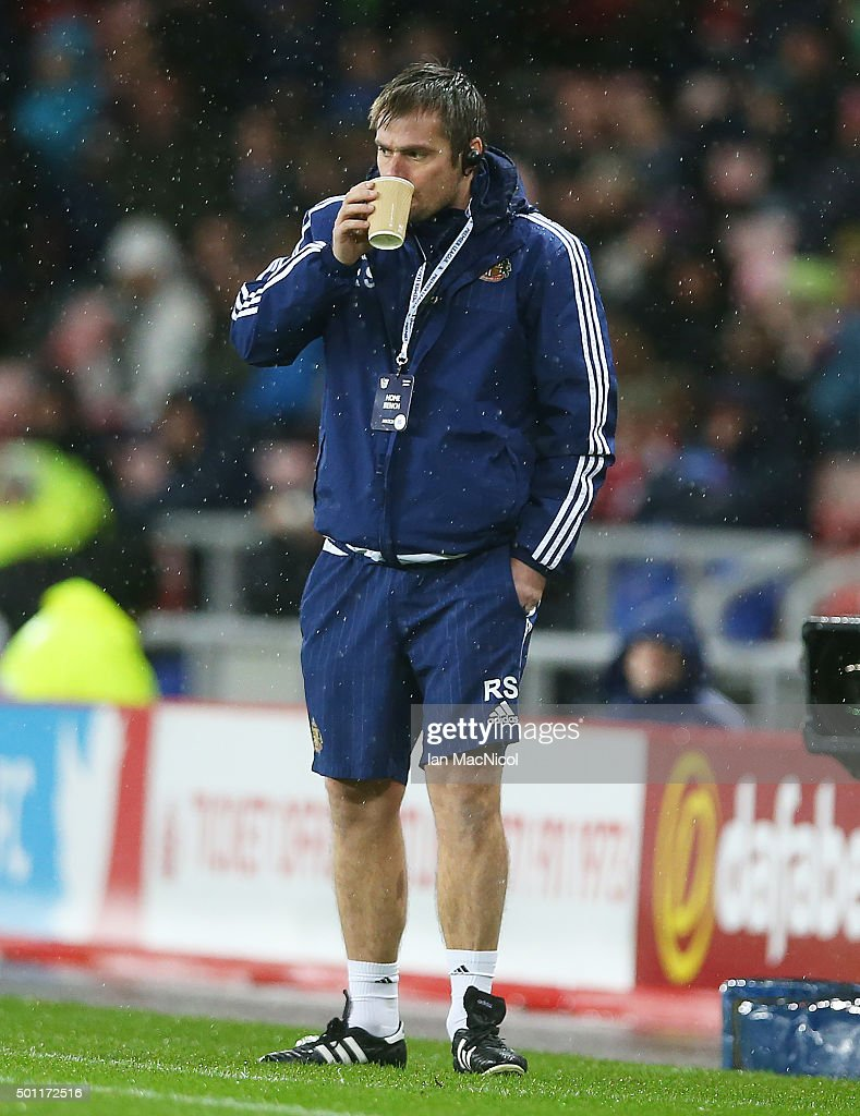 Sunderland assistant coach Robbie Stockdale looks onl during the Barclays Premier League match between Sunderland and Watford at The Stadium of Light on December 12, 2015 in Sunderland, England.