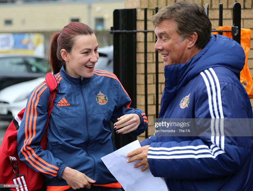 Sunderland captain Steph Bannon arrives at the Hetton Center before the WSL 1 League match between Sunderland Ladies and Chelsea Ladies FC at the Hetton Center on June 29, 2016 in Hetton, England.