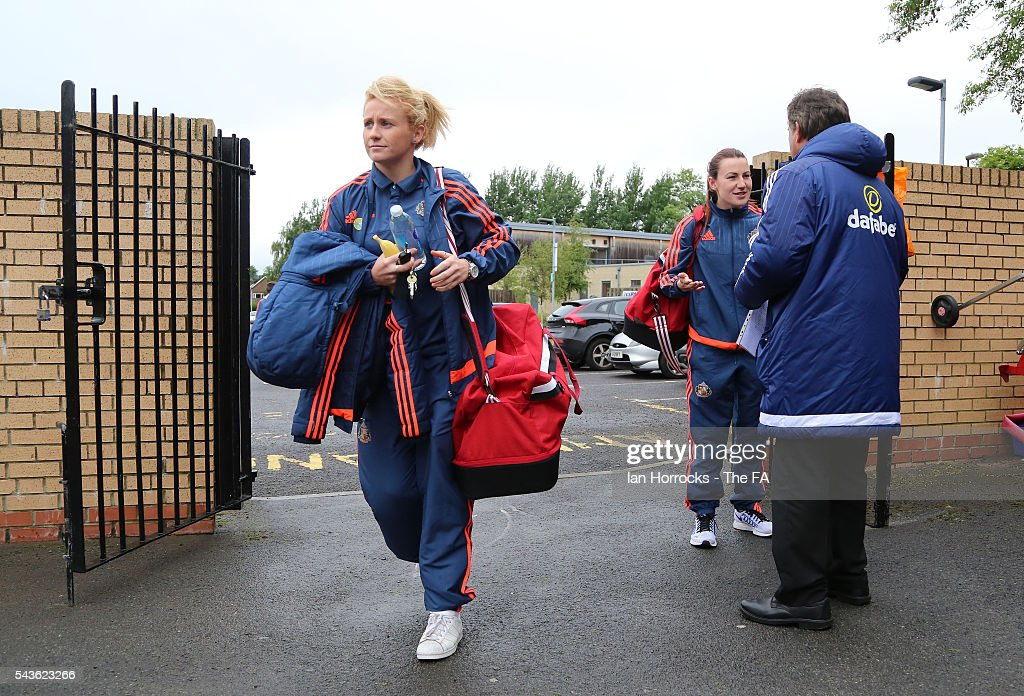Sunderland captain Steph Bannon (R) arrives with Rachel Furness (L) at the Hetton Center before the WSL 1 League match between Sunderland Ladies and Chelsea Ladies FC at the Hetton Center on June 29, 2016 in Hetton, England.