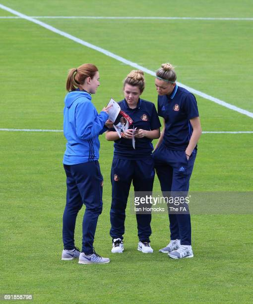 Sunderland captain Steph Bannon chats with teammates before what will be her last game after fifteen years with the club during the WSL1 Spring...