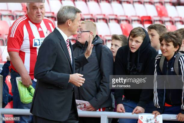 Sunderland chairman Ellis Short chats with fans before the Sky Bet Championship match between Sunderland and Derby County at Stadium of Light on...