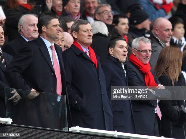 Sunderland chairman Niall Quinn Ellis Short and David Miliband in the stands