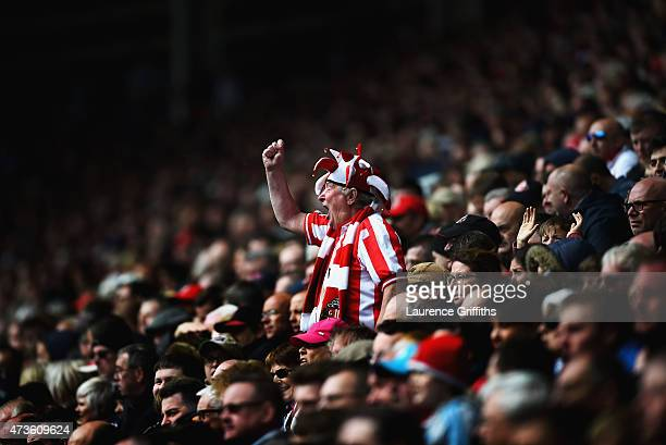 Sunderland fan shows his support during the Barclays Premier League match between Sunderland and Leicester City at Stadium of Light on May 16 2015 in...