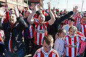 Sunderland fans prior to the Barclays Premier League match between Sunderland and Newcastle United at Stadium of Light on April 5 2015 in Sunderland...
