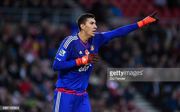 Sunderland goalkeeper Costel Pantilimon reacts during the Barclays Premier League match between Sunderland and Southampton at Stadium of Light on...