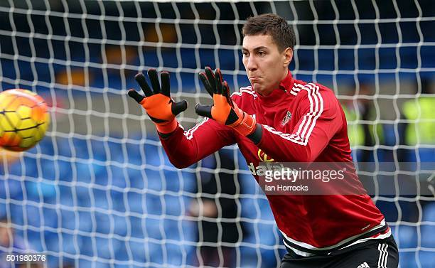 Sunderland goalkeeper Costel Pantilimon warms up during the Barclays Premier League match between Chelsea and Sunderland at Stamford Bridge on...