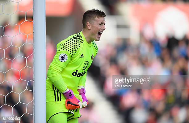 Sunderland goalkeeper Jordan Pickford in action during the Premier League match between Stoke City and Sunderland at Bet365 Stadium on October 15...