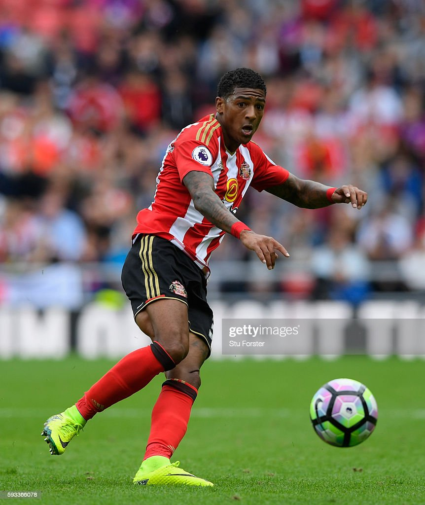 Sunderland goalscorer Patrick van Aanholt in action during the Premier League match between Sunderland and Middlesbrough at Stadium of Light on...