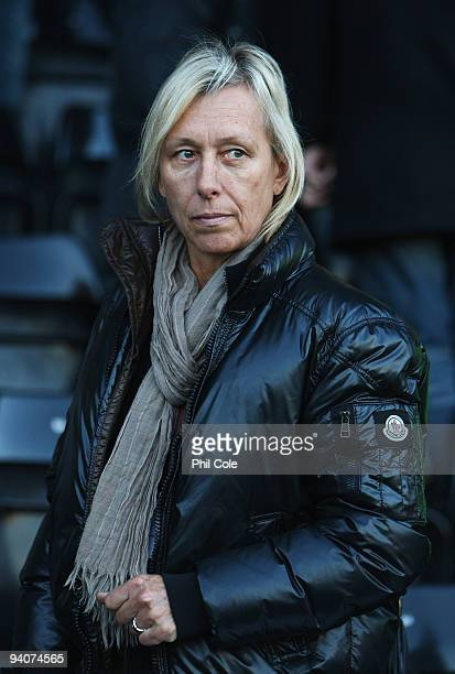 Sunderland guest Martina Navratilova looks on prior to the Barclays Premier League match between Fulham and Sunderland at Craven Cottage on December...