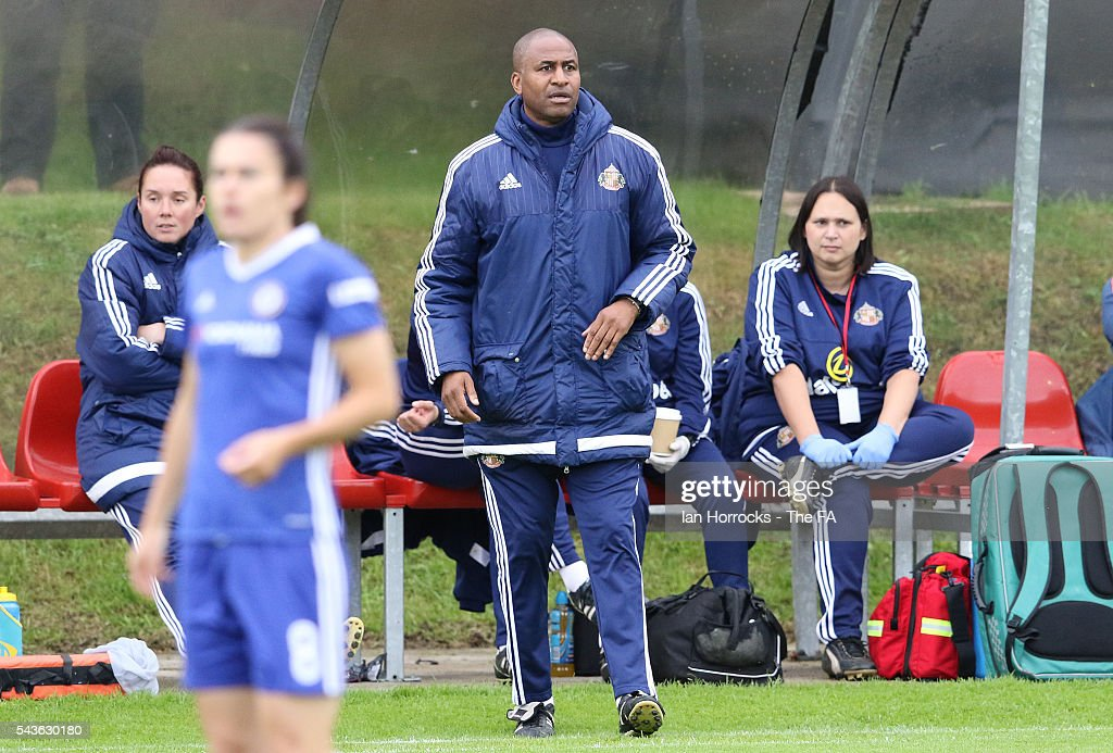 Sunderland manager Carlton Fairwether during the WSL 1 League match between Sunderland Ladies and Chelsea Ladies FC at the Hetton Center on June 29, 2016 in Hetton, England.
