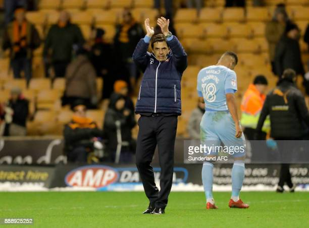 Sunderland manager Chris Coleman applauds the travelling support following the Sky Bet Championship match between Wolverhampton and Sunderland at...