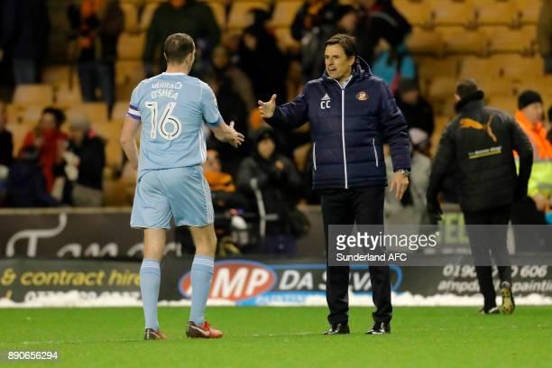 Sunderland manager Chris Coleman celebrates with John O'u2019Shea following the Sky Bet Championship match between Wolverhampton and Sunderland at...