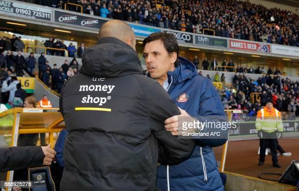 Sunderland manager Chris Coleman greets Wolverhampton Wanderers manager Nuno Espirito Santo during the Sky Bet Championship match between...