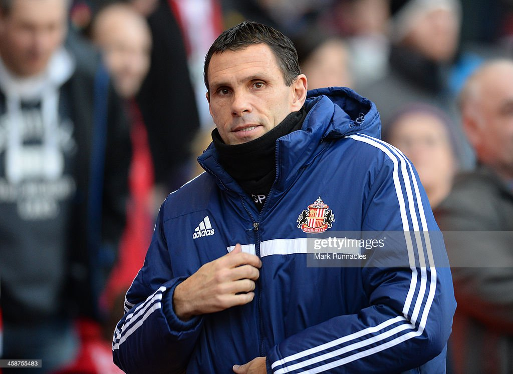 Sunderland manager Chris Houghton during the Barclays Premier League match between Sunderland and Norwich City at the Stadium of Light on December 21, 2013 in Sunderland, England.
