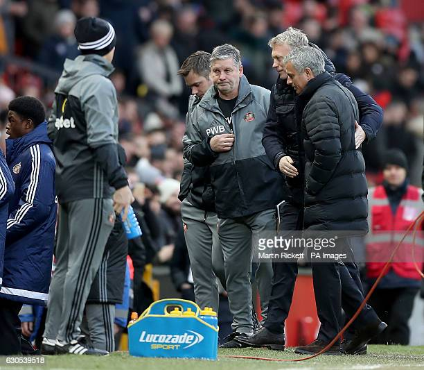 Sunderland manager David Moyes and Manchester United manager Jose Mourinho on the touchline during the Premier League match at Old Trafford Manchester