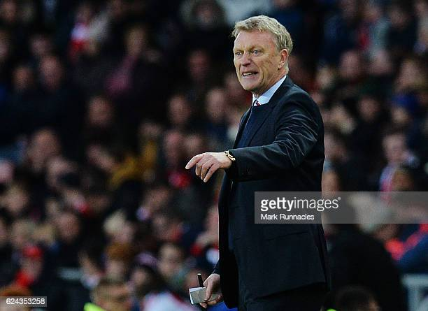 Sunderland manager David Moyes gestures from the side line during the Premier League match between Sunderland and Hull City at Stadium of Light on...