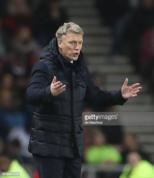 Sunderland manager David Moyes is seen during the Premier League match between Sunderland and Chelsea at Stadium of Light on December 14 2016 in...