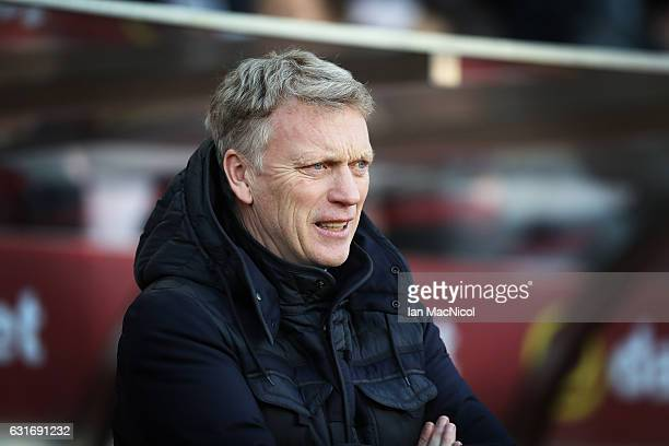 Sunderland manager David Moyes is seen during the Premier League match between Sunderland and Stoke City at Stadium of Light on January 14 2017 in...